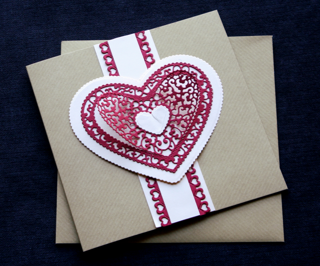 Cream Lacy Heart - Handcrafted Valentines or Anniversary Card - dr16-0019