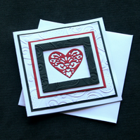 Red & Black Heart - Handcrafted Valentines or Anniversary Card - dr16-0022