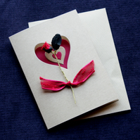 Red Flower Heart Handcrafted Valentines or Anniversary Card - dr16-0023