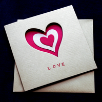 Red Love Hearts - Handcrafted Valentines or Anniversary Card - dr16-0018