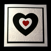 Tiny Red Heart - Handcrafted Valentines or Anniversary Card - dr16-0016