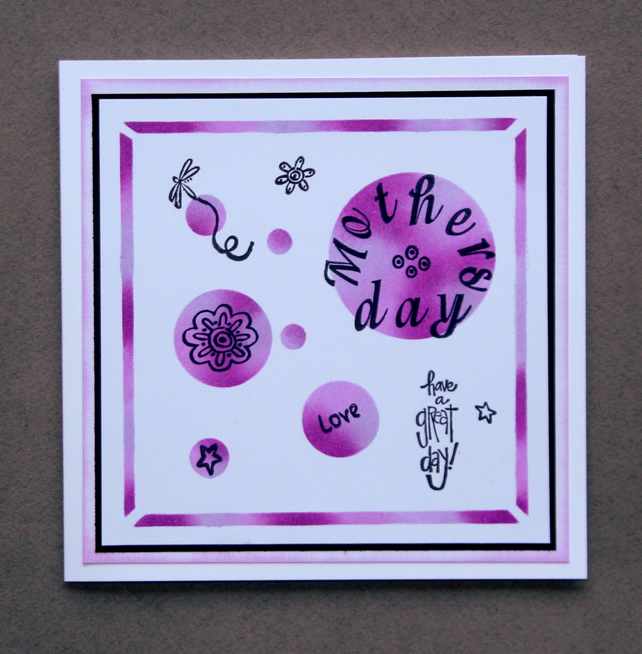 Mothers Day Circles - Handcrafted Mothers Day Card - dr16-0013