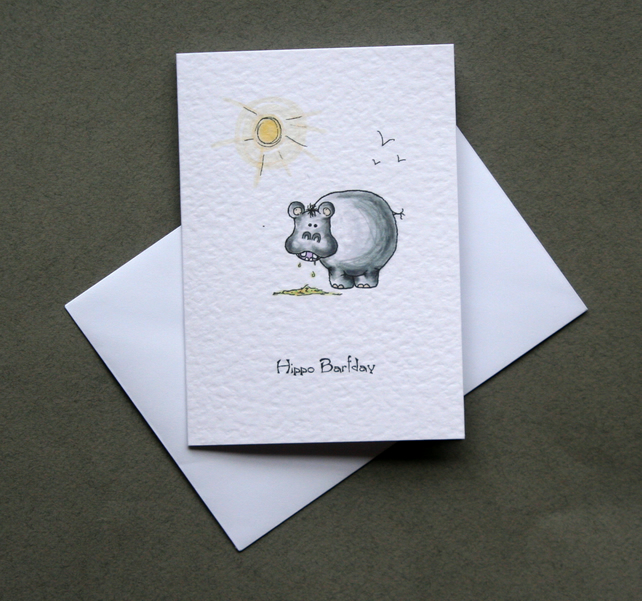 Hippo Barfday - Handcrafted Birthday Card - dr16-0010