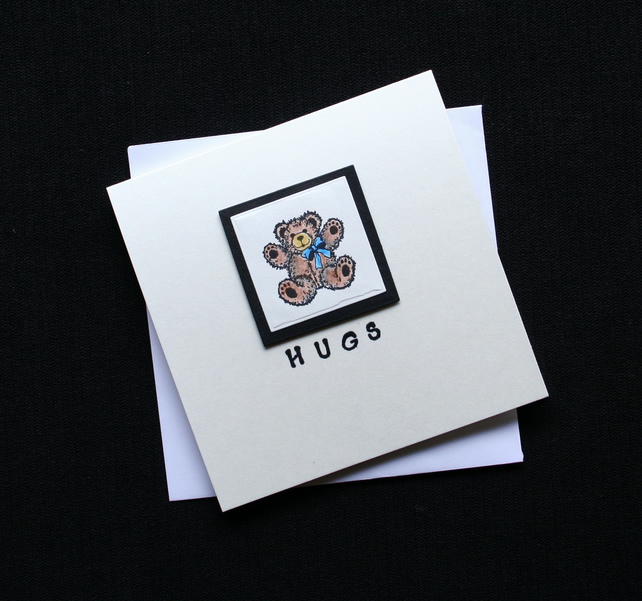Hugs - Handcrafted (blank ) Card - dr16-0041