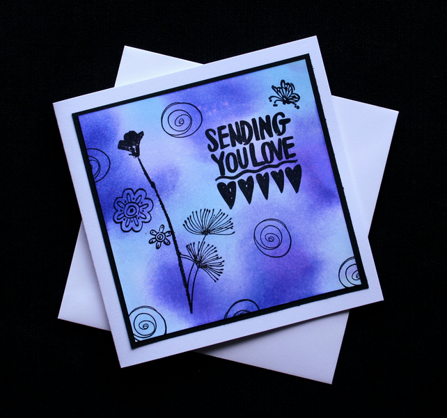 Sending You Love - Handcrafted (blank) Card - dr16-0035