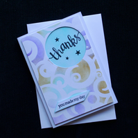Swirly Thanks - Handcrafted Thank you Card - dr16-0055
