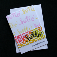 Bright Hello - Handcrafted (Blank) Card - dr16-0054