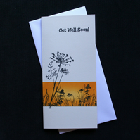 Orange Get Well  Soon Wildflowers - Handcrafted Get Well Soon Card - dr16-0057