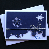 Blue Snowflake Landscape - Handcrafted Christmas Card - dr16-0052