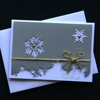 Silver Snowflake Landscape - Handcrafted Christmas Card dr16-0051