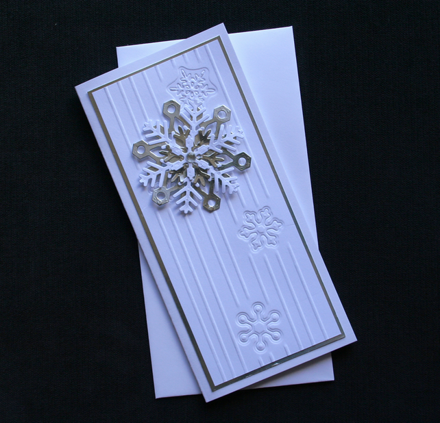 Silver Snowflake - Handcrafted Christmas Card - dr16-0050