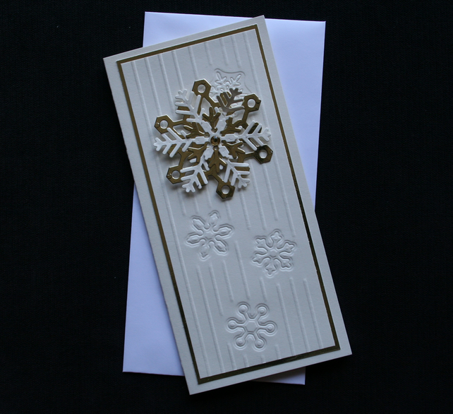 Gold Snowflake - Handcrafted Christmas Card - dr16-0049