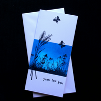 Blue Wildflowers Just For You - Handcrafted (Blank) Card - dr16-0056