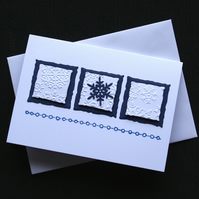 Blue Snowflake Squares -  Handcrafted Christmas Card - dr16-0059