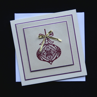 Plum Bauble - Handcrafted Christmas Card - dr16-0065