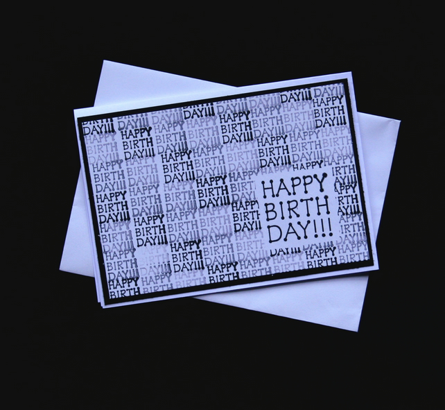 Monochrome Birthday - Handcrafted Birthday Card - dr16-0074