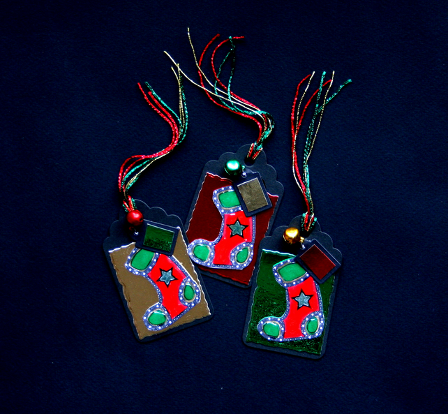 Jingly Stockings - set of 3 - Handcrafted Christmas Gift Tags - dr16-0068