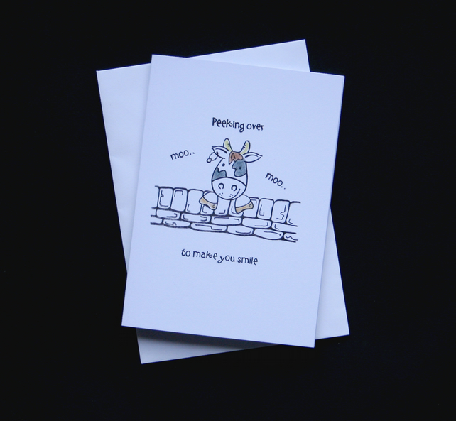 Peeking Over Cow - Handcrafted (blank) Card - dr16-0064