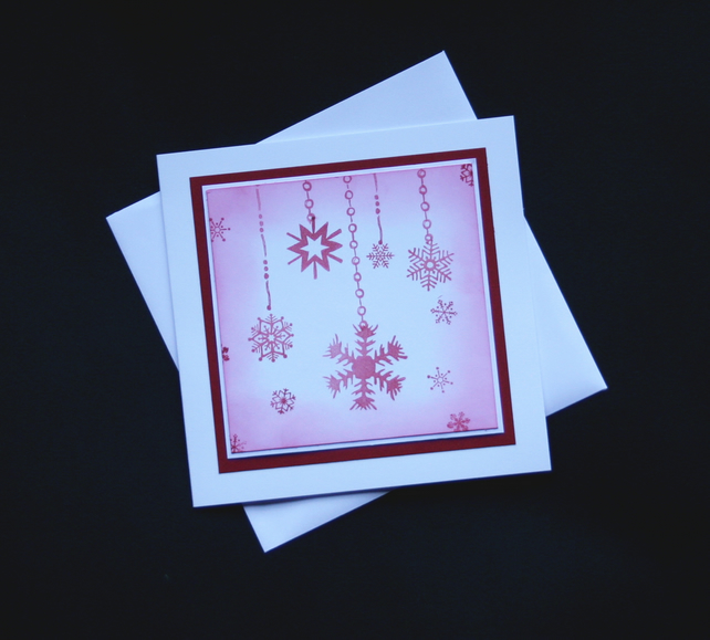 Snowflake Garlands - Handcrafted Christmas Card - dr16-0091