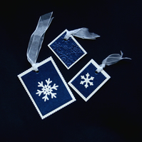 Luxury Blue & Cream Pearlised Tags - Handcrafted Christmas Tags - dr16-0086