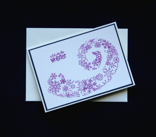 Swirling Snowflakes - Handcrafted Christmas Card - dr16-0092