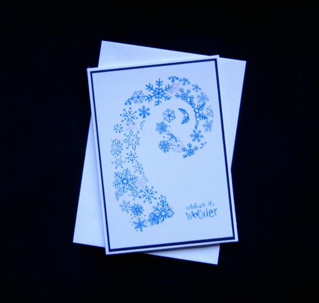 Snowflake Spiral - Handcrafted Christmas Card - dr16-0093