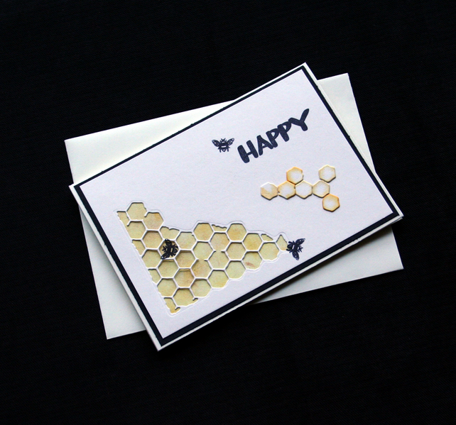 Bee Happy - Handcrafted (blank) Card - dr17-0001