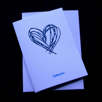 Blue Scribble Heart - Handcrafted Valentines or Anniversary Card - dr17-0003