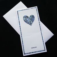 Blue Heart - Handcrafted Valentines or Anniversary Card - dr17-0005