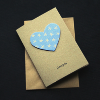 Blue Star Heart - Handcrafted Valentines or Anniversary Card - dr17-0007