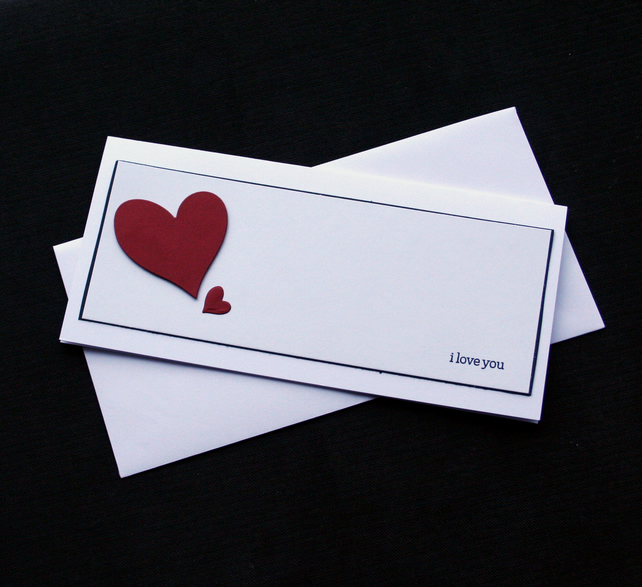 I Love You Hearts - Handcrafted Valentines or Anniversary Card - dr17-0004