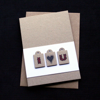 I 'Love' U - Handcrafted Anniversary or Valentines Card - dr17-0027