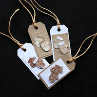 Christmas Mittens Tags - Handcrafted Gift Tags (set of 4) - dr17-0050