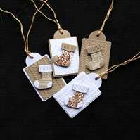 Christmas Stockings Tags - Handcrafted Christmas Gift Tags (set of 4)- dr17-0051