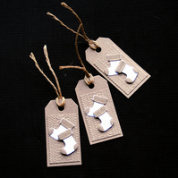 Krafty Stockings - set of 3 - Handcrafted Christmas Gift Tags - dr17-0055