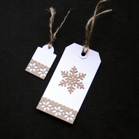 Duo of Snowflakes - set of 2 - Handcrafted Christmas Gift Tags - dr17-0057