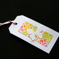 Butterfly Trellis Tag - Handcraftted gift tag - dr17-0064