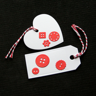 Red Buttons Tags - set of 2 - Handcrafted gift tags - dr17-0065