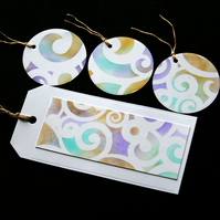 Swirly Tags - set of 4 - Handcrafted gift tags - dr17-0066