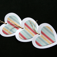 Striped Heart Tags - set of 3 - Handcrafted gift tags - dr17-0068