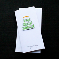 Green Birthday Cake - Handcrafted Birthday Card - dr18-0004