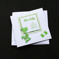 Green Baby Giraffe - Handcrafted New Baby Card - dr17-0079