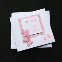 Pink Baby Giraffe - Handcrafted New Baby Card - dr17-0077