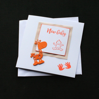 Orange Baby Giraffe - Handcrafted New Baby Card - dr17-0075