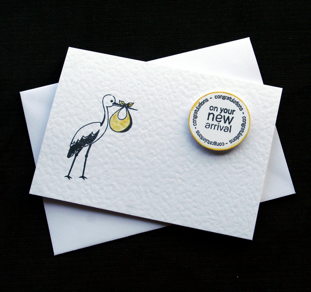 New Arrival (yellow) - Handcrafted New Baby Card - dr18-0019