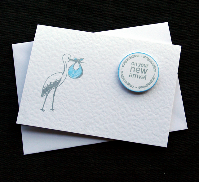 New Arrival (blue) - Handcrafted New Baby Card - dr18-0013