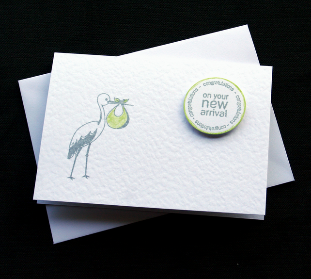 New Arrival (lime) - Handcrafted New Baby Card - dr18-0014