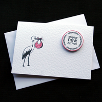 New Arrival (ruby) - Handcrafted New Baby Card - dr18-0017