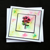Watercolour Roses - Handcrafted (blank) Card - dr18-0020