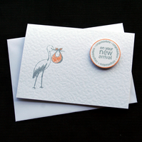 New Arrival (orange) - Handcrafted New Baby Card - dr18-0012